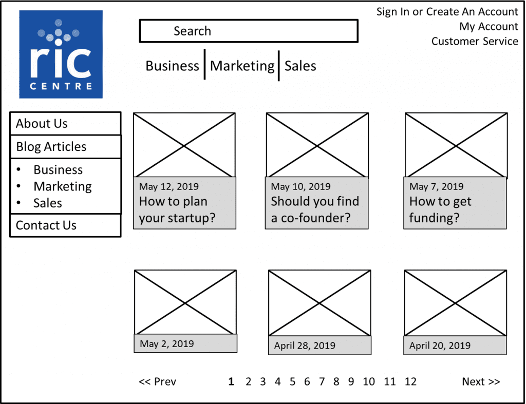 Example of a high-fidelity wireframe