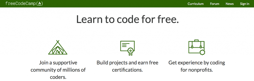Free Code Camp screenshot - how to build software and code