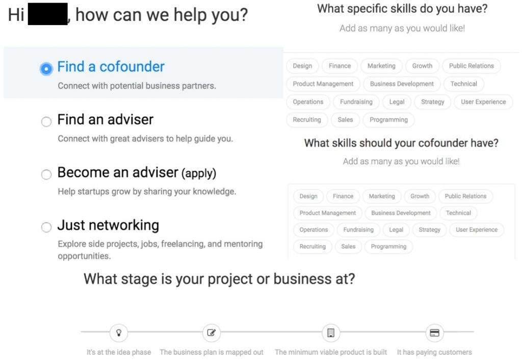 CoFoundersLab example screenshot