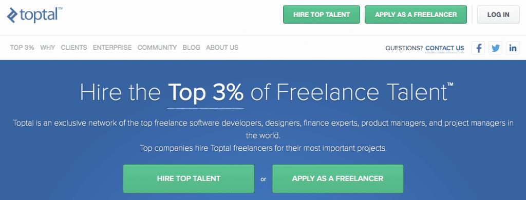 Toptal screenshot - hire freelancers
